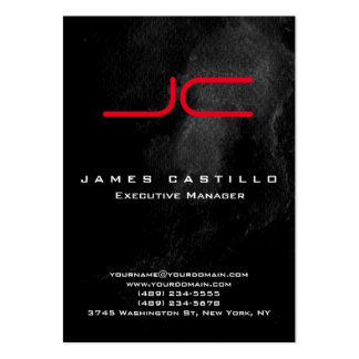 Professional Black Marble Red Bold Monogram Large Business Card