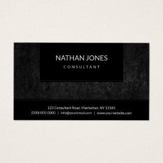 Professional Black Minimalist Faux Cast Iron Metal Business Card