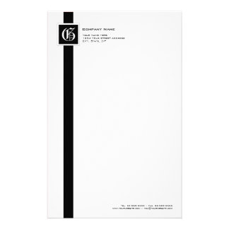 Professional Black & White Stripe Monogram Stationery