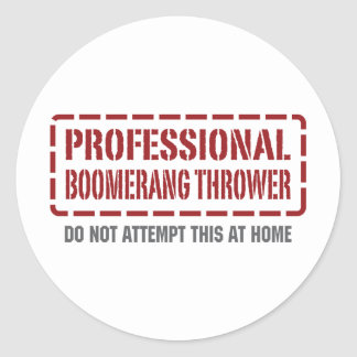 Professional Boomerang Thrower Classic Round Sticker
