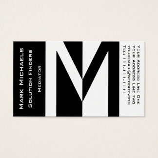 Professional Business M Monogram Black and White Business Card