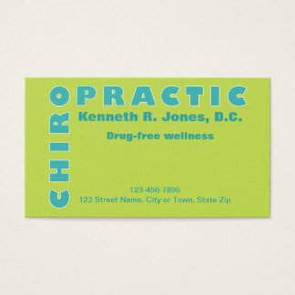 Professional Chiropractic Typographic Appointment Business Card