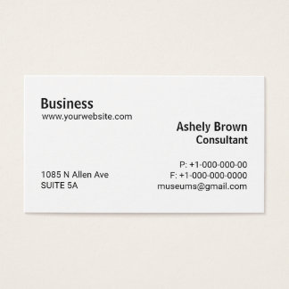 Professional Consultant Plain Simple Computer Busi Business Card