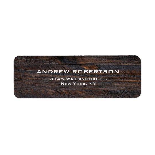 Professional Dark Brown Wood Plain Elegant Return Address Label