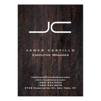 Professional Dark Brown Wood White Monogram Large Business Card