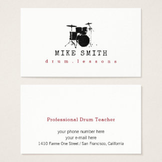 professional drum teacher . drummer business card