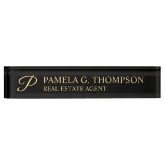 Professional Elegant Black and Gold Name Plate