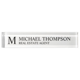 Professional Elegant Black and White Name Plate