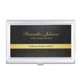 Professional Elegant Black Damask and Gold Business Card Holder