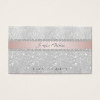 Professional elegant bokeh pearls business card