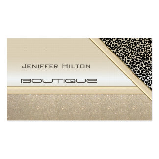 Professional elegant chic leopard print shiny look business card
