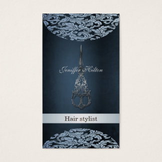 Professional elegant chic luxury  damask scissors business card
