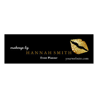 Professional Elegant Makeup Artist Gold Lips Mini Business Card
