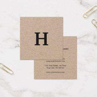 Professional Elegant Minimal Kraft Black Monogram Square Business Card