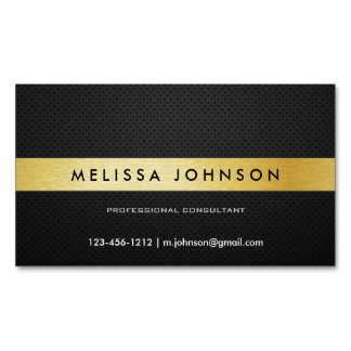 Professional Elegant Modern Black and Gold Magnetic Business Card