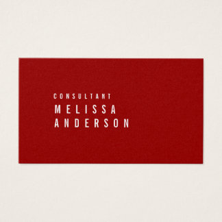 Professional Elegant Modern Minimalist Crimson Red Business Card