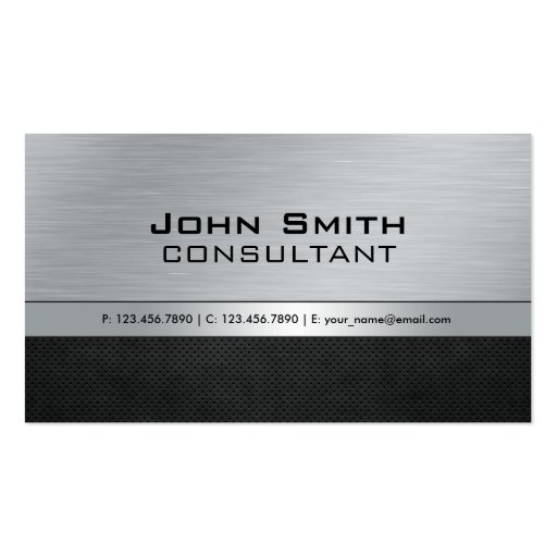 Professional Elegant Modern Silver Black Metal Business Cards