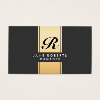 Professional Elegant Monogram Cosmetologist Gold Business Card