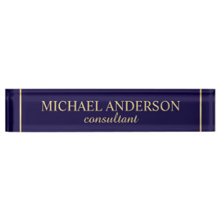 Professional Elegant Navy Blue and Gold Nameplate