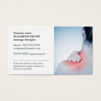 Professional Elegant Photo Massage AppointmentCard Business Card