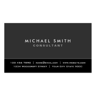 Professional Elegant Plain Modern Black and Gray Business Card