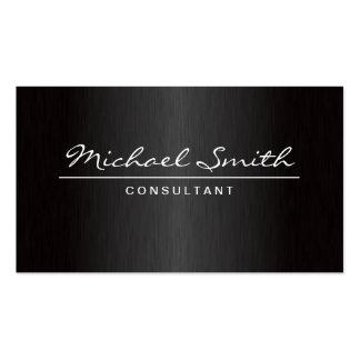 Professional Elegant Plain Modern Metal Black Pack Of Standard Business Cards