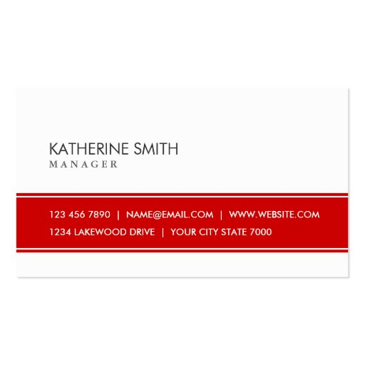 Professional Elegant Plain Simple Red and White Business Cards