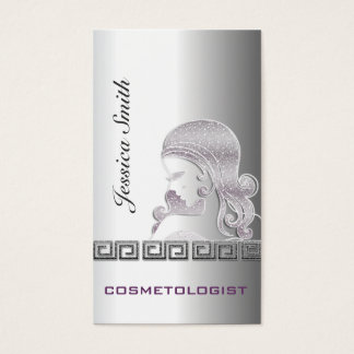 Professional elegant silver glittery silhouette business card