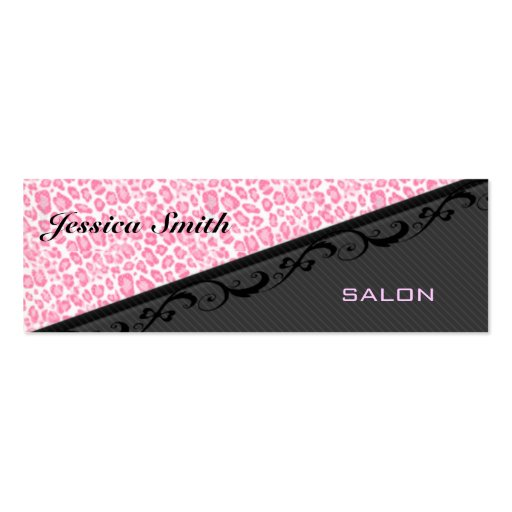 Professional elegant stripes lace leopard print business card