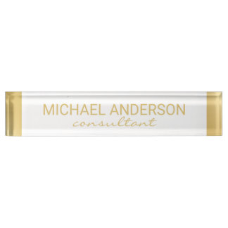 Professional Elegant White and Gold Name Plate