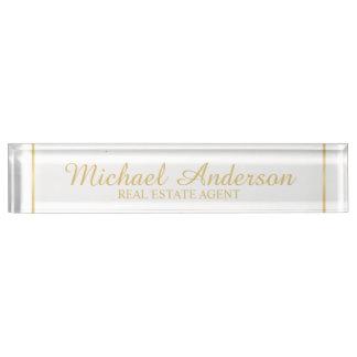 Professional Elegant White and Gold Nameplate
