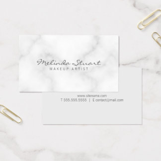 Professional Elegant White Marble Business Card