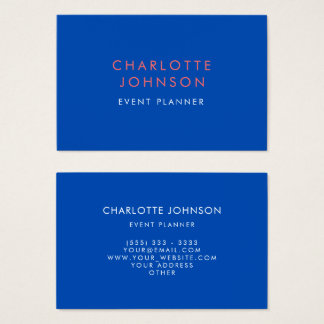 Professional Event Planner Cobalt Blue Business Card