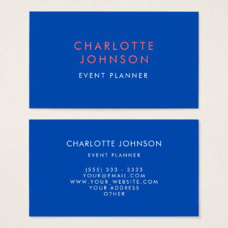 Professional Event Planner Cobalt Business Card