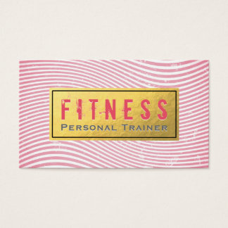 Professional Fitness Personal Trainer Pink & Gold Business Card