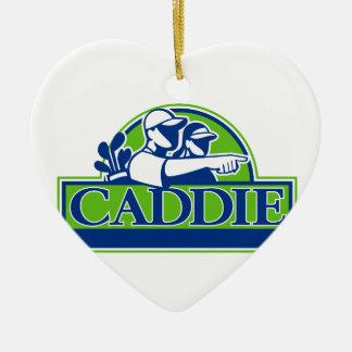 Professional Golfer and Caddie Retro Ceramic Ornament