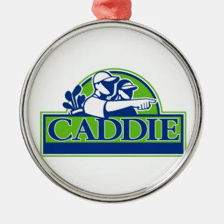Professional Golfer and Caddie Retro Metal Ornament