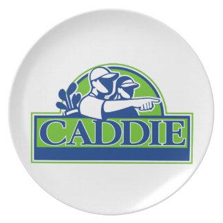 Professional Golfer and Caddie Retro Plate
