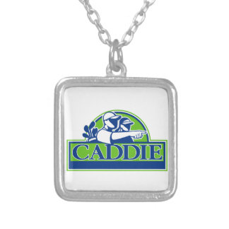 Professional Golfer and Caddie Retro Silver Plated Necklace
