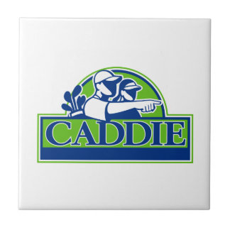 Professional Golfer and Caddie Retro Tile