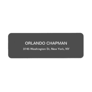 Professional Gray Background Modern Plain Elegant Return Address Label