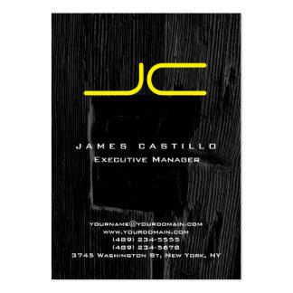 Professional Gray Black Wood Yellow Monogram Large Business Card