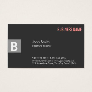Professional Gray Substitute Teacher Business Card