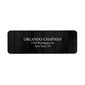 Professional Gray Wood Design Simple Plain Elegant Return Address Label