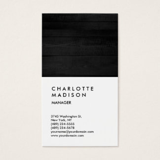 Professional Grey Wood White Trendy Consultant Business Card