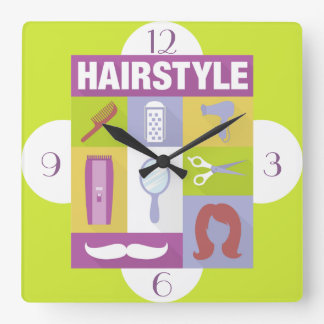 Professional Hair Stylist Iconic Designed Square Wall Clock