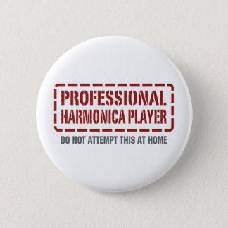 Professional Harmonica Player 2 Inch Round Button