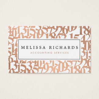 Professional Luxe Rose Gold Numbers Accountant Business Card