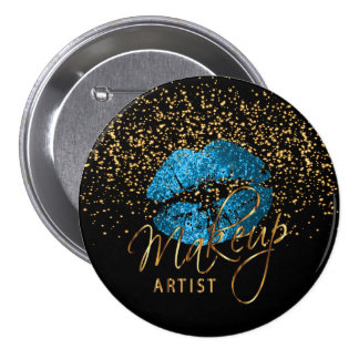 Professional Makeup Artist - Turquoise Blue Lips 3 Inch Round Button