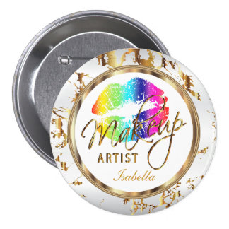 Professional Makeup Rainbow , White and Marble 3 Inch Round Button